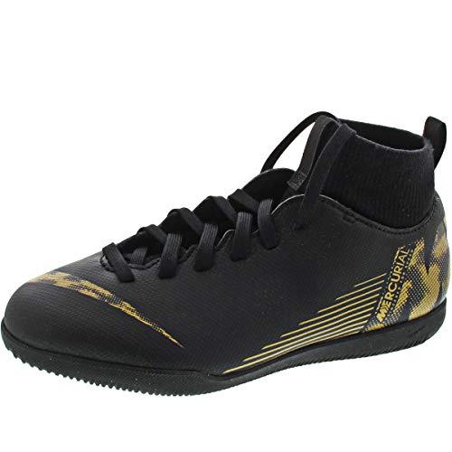 Nike Unisex-Kinder Superflyx 6 Club IC Fußballschuhe, Schwarz (Black/MTLC Vivid Gold 077), 32 EU