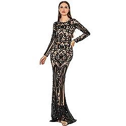 Black O Neck Long Sleeve Retro Sequin Maxi Gorgeous Dress