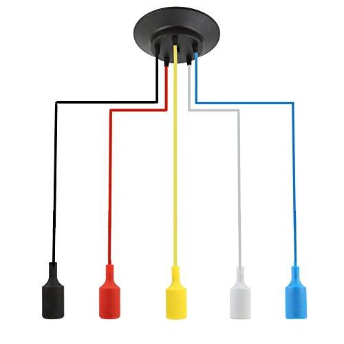 Exquisita Múltiples colgantes de línea de color de la lámpara de la vendimia Edison de Ajustable de bricolaje de techo lámpara de araña restaurantes escaparate de la sala Cafe iluminación pendiente de