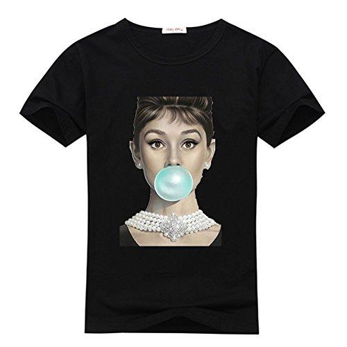 DIYtshirt Audrey Hepburn quote T-Shirt, Custom Women's Classic 100% Cotton T-Shirt with Audrey Hepburn quote (X-Large)
