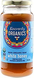 Heavenly Organics 100% Organic Raw White Honey (22 Oz) Lightly Filtered to Preserve Vitamins, Minerals and Enzymes; Made from Wild Beehives & Free Range Bees; Dairy, Nut, Gluten Free, Kosher