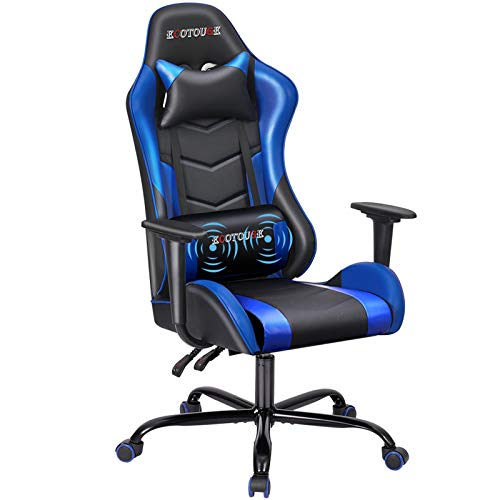 ECOTOUGE PC Gaming Chair Massage Ergonomic Office Desk Chair Racing PU Leather Recliner Swivel Rocker with Headrest and Lumbar Pillow, Black & Blue