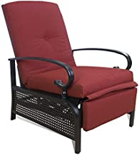 Kozyard Adjustable Patio Reclining Lounge Chair with Strong Extendable Metal Frame and Comfortable Cushions for Outdoor Reading, Sunbathing or Relaxation (Burgundy)