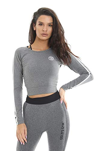 Gold's Gym Mujer Crop Suéter Deportivo Casual Reflectante Gris Marga S