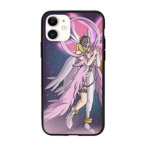 Compatibile con iPhone 12/12 11 Pro Max mini X/XS Max XR 8 7 6 6s Plus SE Caso Samsung S21 Ultra Black Custodie per cellulari Cover Angewomon Digimon