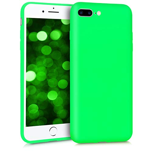 kwmobile TPU Case Compatible with Apple iPhone 7 Plus / 8 Plus - Case Soft Thin Slim Smooth Flexible Protective Phone Cover - Neon Green