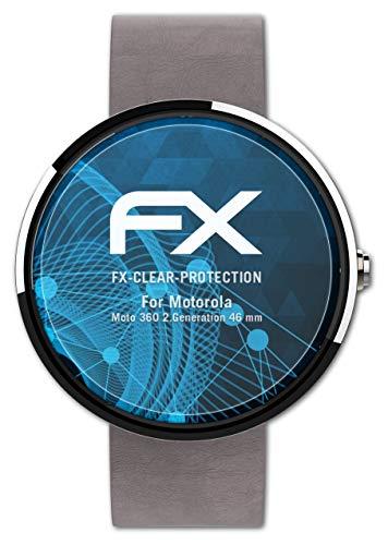 atFoliX Schutzfolie kompatibel mit Motorola Moto 360 2.Generation 46 mm Folie, ultraklare FX Bildschirmschutzfolie (3X)
