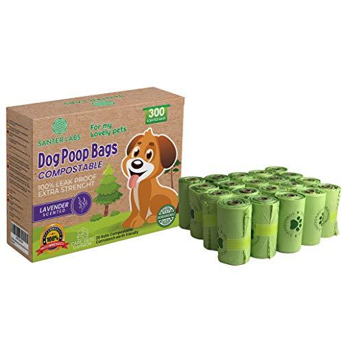 SANTER LABS Bolsas Excrementos Residuos Caca Perros Gatos Mascotas Extrafuerte Compostable Biodegradables De Almidón de Maíz Certificada EN13432 (300 Bolsas COMPOSTABLES)