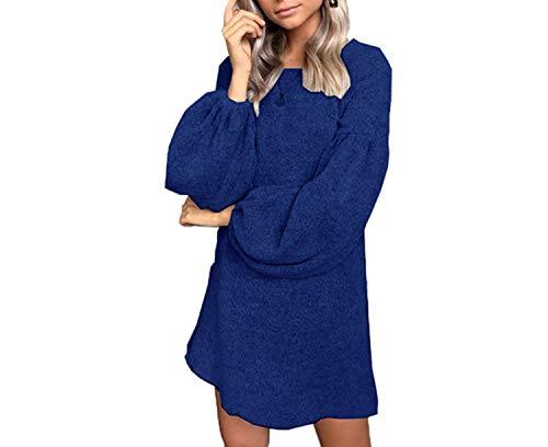 Vestido de invierno para mujer, manga linterna, color gris, de punto, casual, corto, suéter, vestidos Vestidos