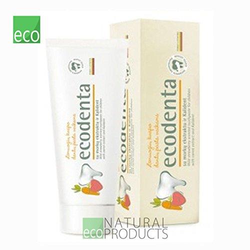 ökologische WILD ERDBEERE DUFTEND zahnpasta ECODENTA 75 ml (97% natur) für kinder mit carot extrakt und Kalident