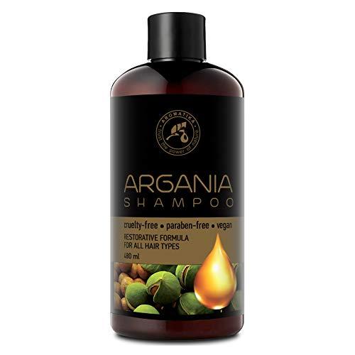 Shampooing Huile de Argane 480ml - avec de l'huile d'argan Naturelle et des Extraits d'herbes pour tous les Types de Cheveux - Formule Réparatrice - Soin des Cheveux - Argan Shampoo
