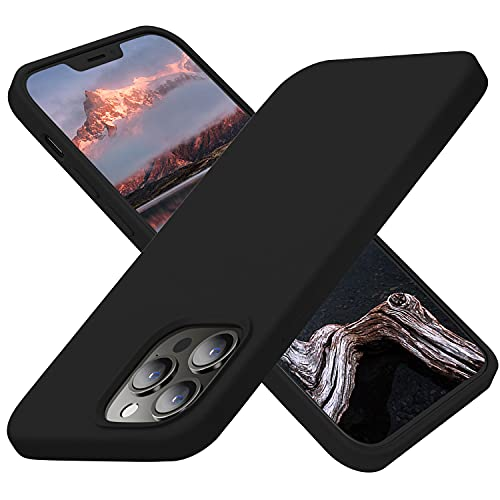 Cordking Designed for iPhone 13 Pro Cases, Silicone Ultra Slim Shockproof Protective Phone Case with [Soft Anti-Scratch Microfiber Lining], 6.1 inch, Black