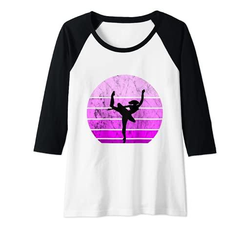 Mujer Bailarina Ballet Bailarina Retro Puesta de Sol Danza Artística Chica Camiseta Manga Raglan