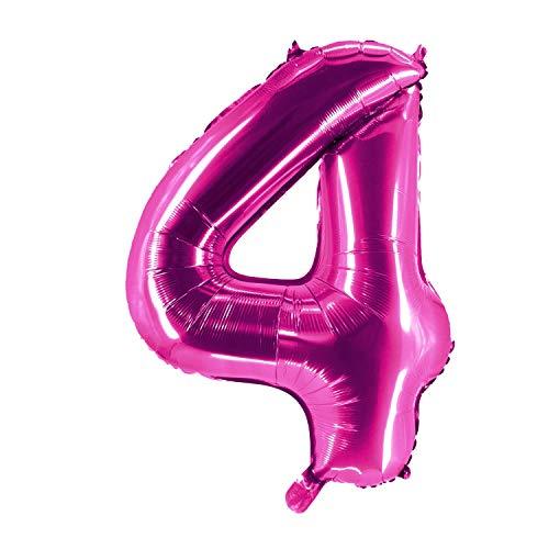 Party Factory Globo de helio XXL con el número 4, 100 cm, color rosa, para cumpleaños, Abi, aniversario, fiesta, decoración
