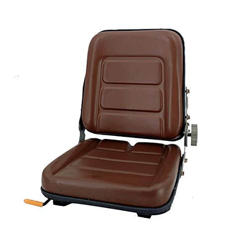 TABODD PVC Gabelstaplersitz Aufhängung Traktorsitz mit 140° Verstellbarer Rückenlehne, Traktorsitz Schleppersitz für Landwirtschaftsfahrzeuge, Braun
