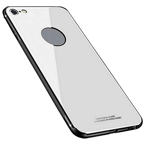 Kepuch Quartz Cover per iPhone 6 6S - TPU Morbido + Custodia Posteriore in Vetro Temperato Case per iPhone 6 6S - Bianco