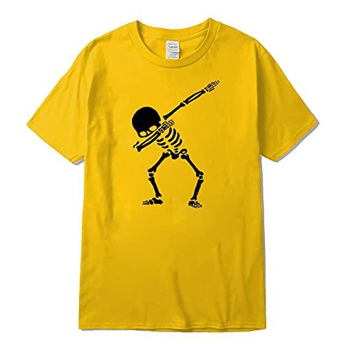 Camiseta de Manga Corta Camisa 3D 100% Algodón Hombres De Manga Corta con Estampado De Calaveras para Hombres Camiseta Casual con Cuello En V Verano para Hombr