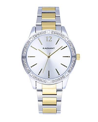 Reloj analógico para Mujer de Radiant. Colección Shiny Pastels. Reloj de Brazalete Bicolor en Dorado con Esfera Dorada y pedrería Blanca en el Bisel. 3ATM. 38mm. Referencia RA566203.