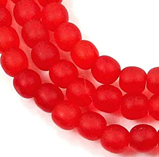 100 Czech Frosted Sea Glass Round Beads - Matte - Siam Ruby 4mm, Beading, Jewelry Making, DIY Crafting, Arts & Sewing by Perfect Beads Store