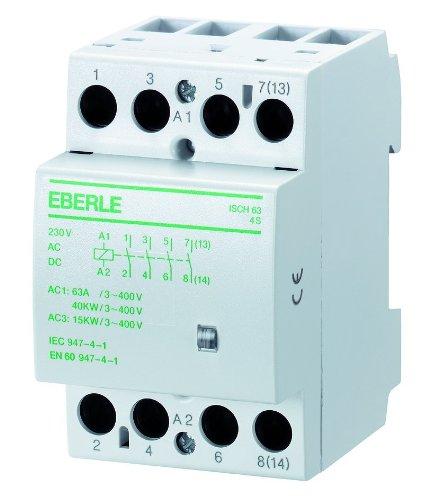 Eberle Controls 049089140000 Installationsschütz ISCH 63-4 S (brummfrei, lange Lebensdauer, AC 230 V, 63 A, 4 S, Maße: 54 x 85 x 58 mm)
