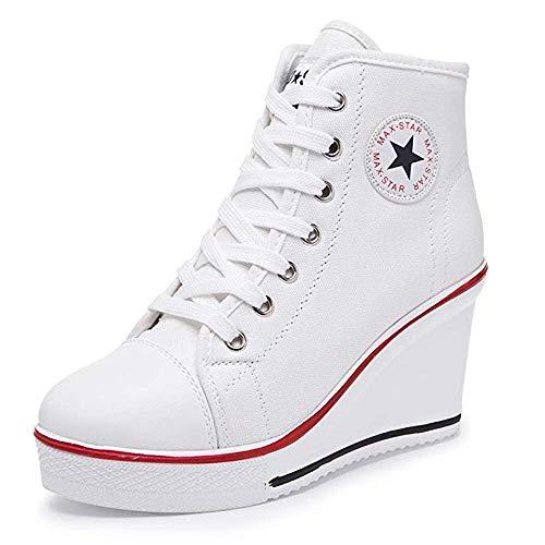 Zomiee Damen-Sneaker mit Absatz, Leinenschuhe mit High-Top, Keilabsatz, Turnschuhe mit Plateau, zum Schnüren, Reißverschluss an der Seite, Pumps, modisch, Weiß - weiß - Größe: 38 EU