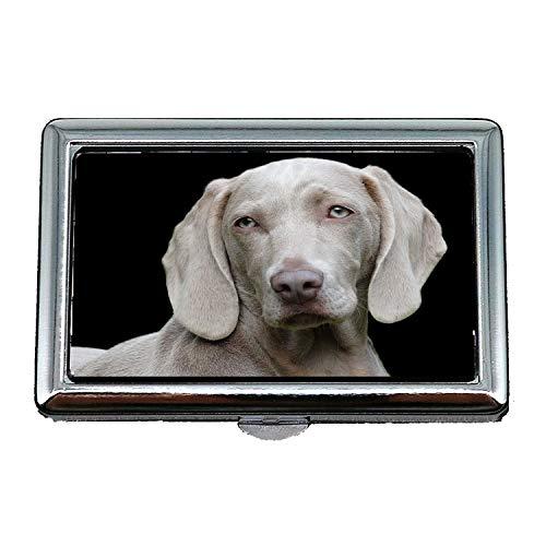 Zigarettenetui, Hund Weimaraner Haustier Canine Portrait, Visitenkartenetui Visitenkartenetui Edelstahl