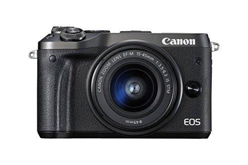 Canon EOS M6 - Cámara Evil de 24.2 MP (Pantalla táctil de 3.0'', DIGIC 7, NFC, Dual Pixel CMOS AF, Bluetooth, 5 - Axis Digital IS, Full HD, WiFi) Negro - Kit Cuerpo con Objetivo EF-M 15-45
