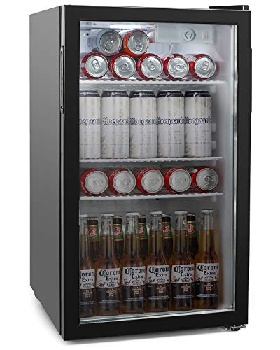 COOLLIFE Beverage Refrigerator and Cooler - 120 Can Mini Fridge with Glass Door and Adjustable Removable Shelves for Soda Beer or Wine - Small Drink Dispenser Machine for Office or Bar