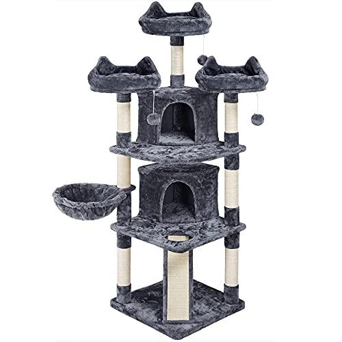 Yaheetech Albero Tiragraffi per Gatti Adulti con Sisal Naturale Torre Giocattolo Grigio Scuro 55 x 55 x 174cm
