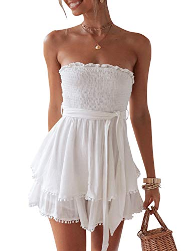 BerryGo Women's Sexy Off Shoulder Ruffle Romper Cotton Backless Short Jumpsuit White