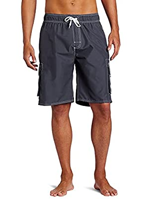 Kanu Surf Men's Barracuda Swim Trunks (Regular & Extended Sizes), Charcoal, Large