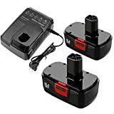 2Pack 3.6Ah Ni-Mh 130279005 Replacement for Craftsman 19.2 Volt Battery 130279003 130279017 + 1Pack Charger Compatible with Craftsman 9.6V-19.2V Ni-Mh Ni-Cd and Li-ion Batteries