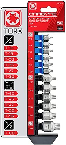 CARBYNE Super Short Torx Bit Socket Set - 12 Piece, T-10 to T-60   S2 Steel