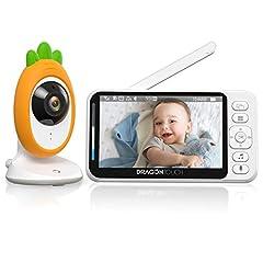 Babyphone avec caméra, moniteur vidéo baby, Dragon Touch Baby Caméra de surveillance 4.3 pouces écran LCD avec deux voies audio, split screen, vision de nuit LED invisible, mode VOX, surveillance de la température