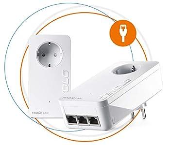 Devolo Magic 2 LAN Triple Starter Kit Powerline para una Red Doméstica Estable por Cables de Corriente, Tecnología G.hn, 3 Conexiones LAN Gigabit, Blanco