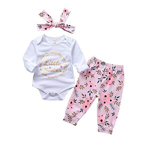 La Cabina Demiawaking 3pcs Grenouille Barboteuse Enfant Infantile Bébé Filles Long Manchon Floral Vêtements Ensemble Tops + Pantalon + Bandeau Tenues pour Bébé Fille Garçon