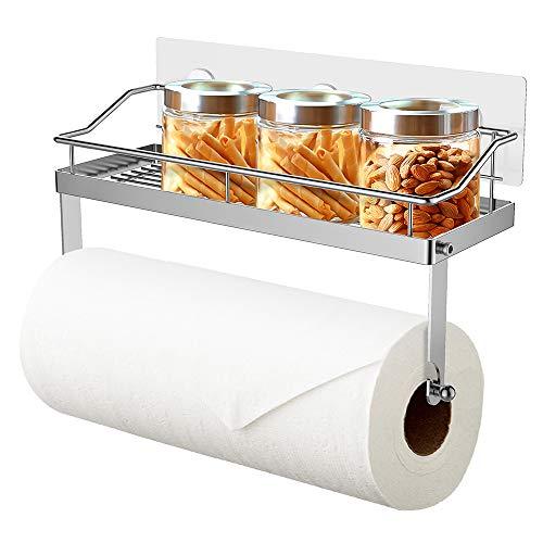 Oriware Küchenrollenhalter mit Regal Küchenrollenspender Wand Küchenpapierhalter Papierrollenhalter Küchen Badezimmer Aufbewahrung Ohne Bohren - Edelstahl Matt