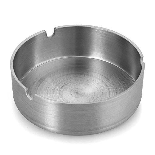 Demarkt Aschenbecher mit Zigarettenhalter aus Edelstahl rund Durchmesser 8cm (Silberfarbe A)