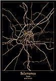 Lienzos De Fotos 60x90cm Sin Marco Salamanca España mapas de luz de ciudad negra y dorada mapas de ciudades del mundo carteles imagen decoración del hogar
