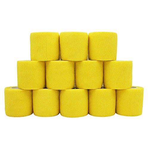 COMOmed - Vendaje médico microporoso y cohesivo, venda de crepé autoadhesiva, vendaje envolvente veterinario para caballos, caucho natural, 5 cm x 4,5 m, hombre, amarillo, 12 rolls