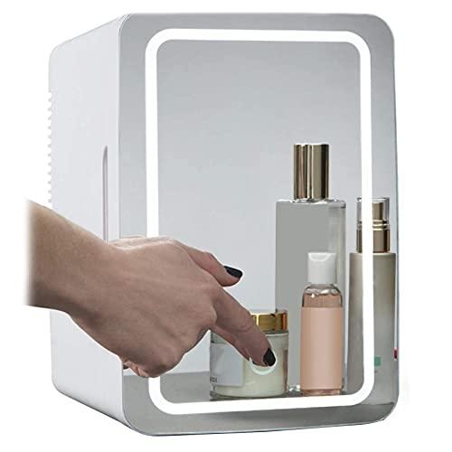 Maquillaje Nevera con LED Espejo, Mini Refrigerador Portátil Refrigerador Coche, LED Espejo De Maquillaje, Congelador Cosmético para Dormitorio, Oficina, Coche(8L)