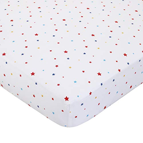 ED Ellen DeGeneres Doodle Dog - 100% Cotton Fitted Crib Sheet, Multi Star Print, Ivory, Royal, Red, Yellow