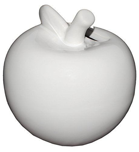 alles-meine.de GmbH Spardose -  Apfel - weiß  - stabile Sparbüchse aus Porzellan / Keramik - Sparschwein - für Kinder & Erwachsene / lustig witzig - Kinderspardose - Obst / Kur..