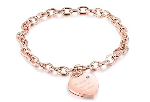 Ohana - Pulsera para mujer de acero inoxidable con corazón y frase de amor, Acero inoxidable,