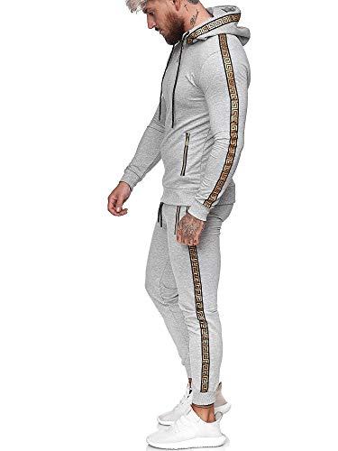 Code47 | Herren Trainingsanzug | Jogginganzug | Sportanzug | Jogging Anzug | Hoodie-Sporthose | Jogging-Anzug | Trainings-Anzug | Jogging-Hose | Modell JG-1424 Grau M