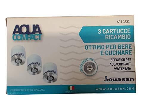Aquasan 3 Cartucce Filtro Ricambio Aquacompact, Aquagaia Acqua Limpida e Pulita Filtro Rubinetto, Filtraggio Acqua Cartuccia Depuratore Microfiltrazione Acqua Potabile Sistema Filtrante Multi Stadio
