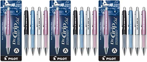 PILOT Dr. Grip Limited Refillable & Retractable Gel Ink Rolling Ball Pen, Fine Point, Assorted Barrel, Black Ink, Single Pen (36274) - 3 Pack