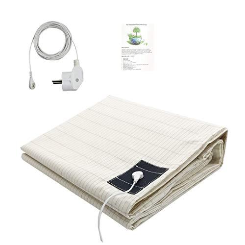 Erdungsbettlaken Erdungsmatte mit EU Erdungskabel für Besseren Schlaf EMF Schutz (193x203cm)