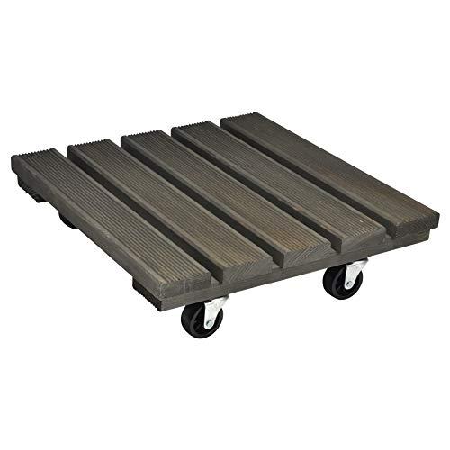 WAGNER Chariot de plantes VINTAGE 29 x 29 x 8,5 cm | Pour l'intérieur + l'extérieur | Support roulant antidérapant, bois massif certifié FSC®, vintage| Capacité de charge 150 kg | Made in EU- 20086201