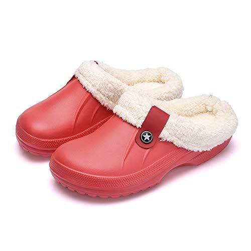 Syczdntx Pantofole impermeabili inverno pantofole scarpe morbide Indoor casual Crocus Zoccoli con pelliccia fodera in pile piano casa delle donne pantofole donna ( Color : Red 2 , Shoe Size : 35 )